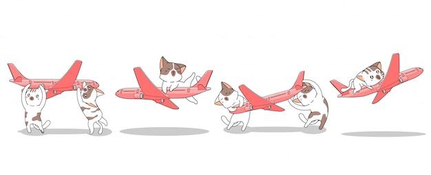 Von hand gezeichnete kawaii katzen der fahne spielen das flugzeug
