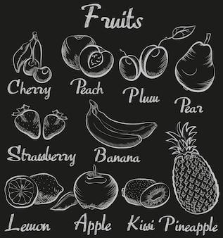 Von hand gezeichnete kreidetafelfrüchte der weinlese