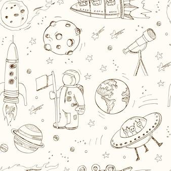 Von hand gezeichnete kritzeleien der karikatur zum thema des nahtlosen raummusters.