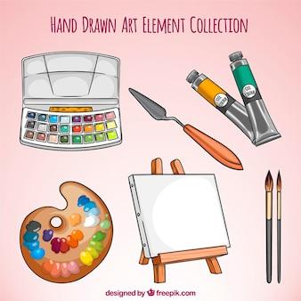 Von hand gezeichnete kunst ausrüstung