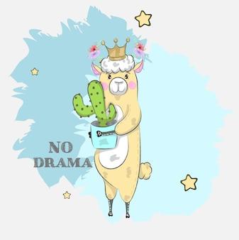 Von hand gezeichnete lama der netten karikatur