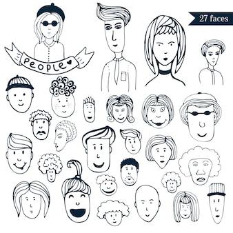 Von hand gezeichnete leute drängen gekritzelsammlung avataras. 27 verschiedene lustige gesichter. karikaturvektorsatz. menschen-symbole