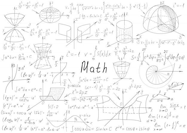 Von hand gezeichnete mathematische formeln auf einer weißen tafel für den hintergrund.
