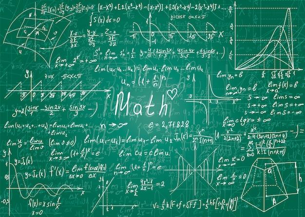 Von hand gezeichnete mathematische formeln.