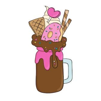 Von hand gezeichnete monster-shakes mit donut und schokolade