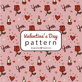 Von hand gezeichnete muster mit kerzen und herzen für den valentinstag