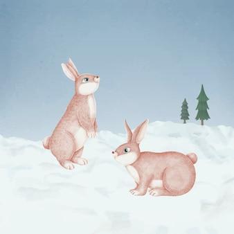 Von hand gezeichnete rosa kaninchen in einem schneebedeckten wald