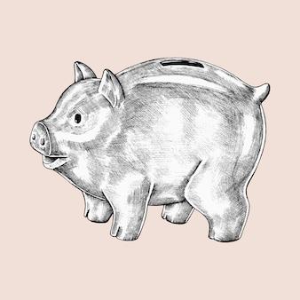 Von hand gezeichnete sparschweinillustration