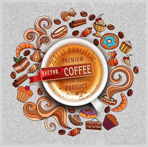 Von hand gezeichnete vektorelemente auf einem kaffeethema