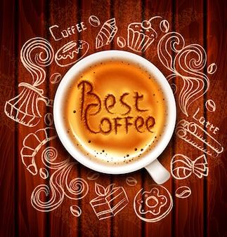 Von hand gezeichnete vektorgekritzel auf einem kaffeethema