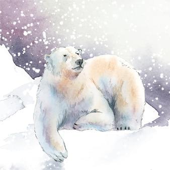 Von hand gezeichneter eisbär im schneeaquarell-artvektor
