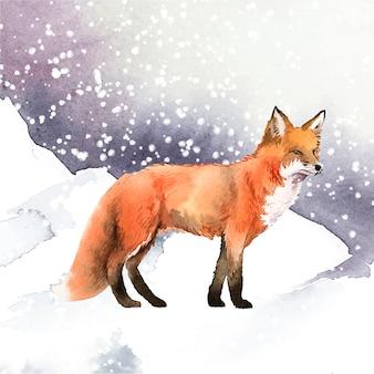 Von hand gezeichneter fuchs in der schneeaquarellart