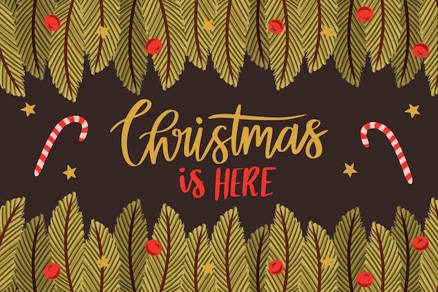 Von hand gezeichneter hintergrund der weihnachtsbaumaste