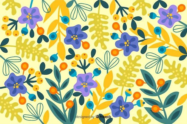 Von hand gezeichneter hintergrund des blütenfrühlings