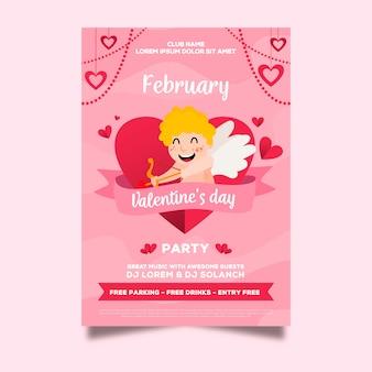 Von hand gezeichneter partyflieger des valentinstags