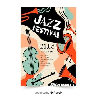 Von hand gezeichnetes abstraktes jazzplakat der schablone