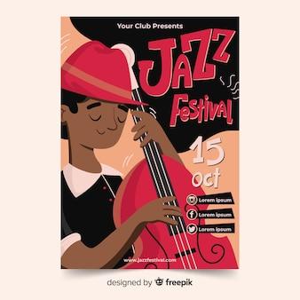 Von hand gezeichnetes abstraktes jazzplakat