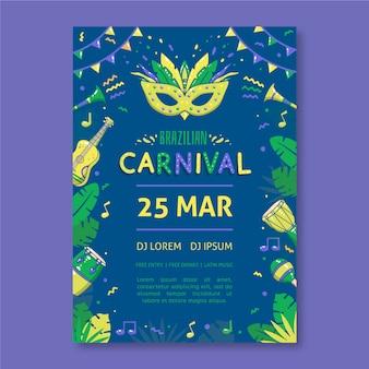 Von hand gezeichnetes brasilianisches karnevalsflieger-schablonenthema