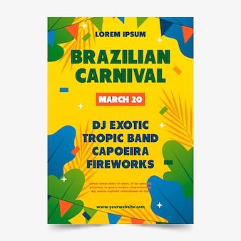 Von hand gezeichnetes brasilianisches karnevalsplakat