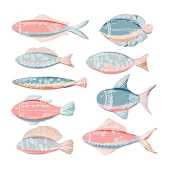 Von hand gezeichnetes gekritzel fischt sammlung in den rosa und blauen farben