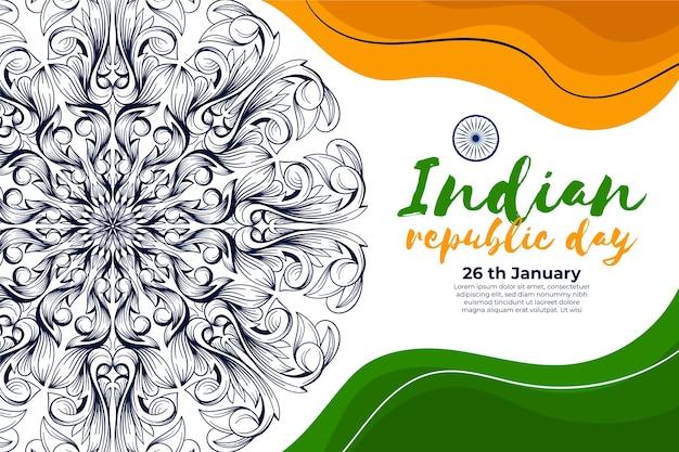 Von hand gezeichnetes indisches tag der republik-konzept
