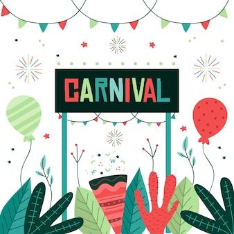 Von hand gezeichnetes konzept für karnevalsereignisfeier