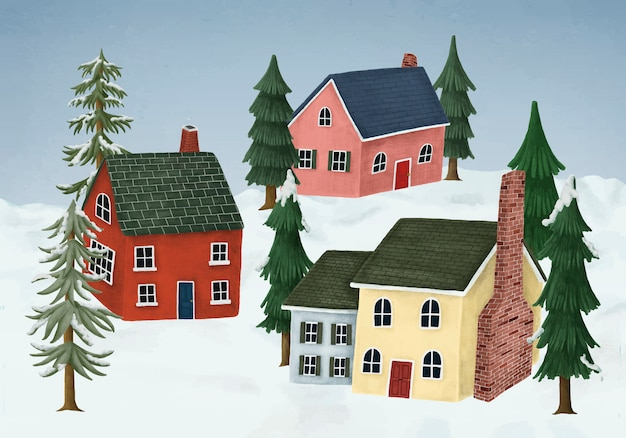 Von hand gezeichnetes landschaftsdorf bedeckt im winterschnee