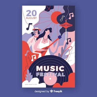 Von hand gezeichnetes musikfestivalplakat mit aufzeichnung