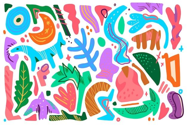 Von hand gezeichnetes organisches formthema für tapete