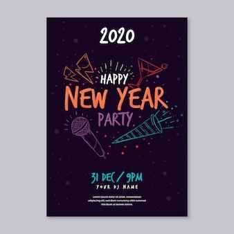 Von hand gezeichnetes partyplakat des neuen jahres der schablone