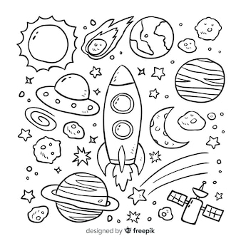 Von hand gezeichnetes planetensammlungskonzept