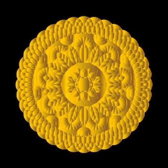 Von hand gezeichnetes starkes rundes mandalaelement der mandala-vektorweinlese