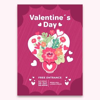 Von hand gezeichnetes valentinstag-parteiflieger-schablonenkonzept