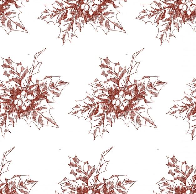 Von hand gezeichnetes weihnachtsnahtloses muster mit stechpalmenskizze.