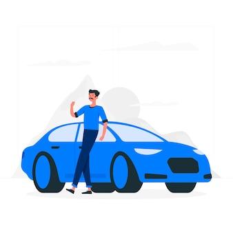 Von meinem auto illustration konzept
