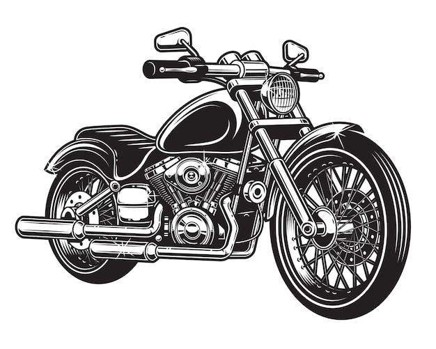 Von motorrad isoliert auf weißem hintergrund. monochromer stil.