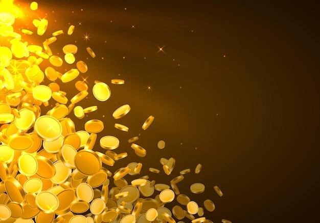 Von oben fallen viele münzen auf goldenem hintergrund. vektor-illustration