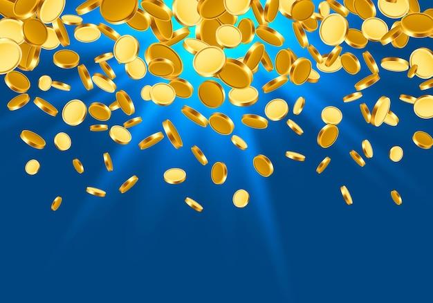 Von oben fallen viele münzen auf türkisfarbenem hintergrund. vektor-illustration