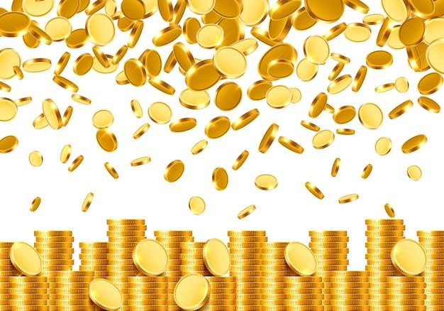 Von oben fallen viele münzen auf weißem hintergrund. vektor-illustration
