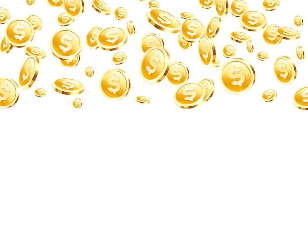 Von oben fallen viele münzen auf weißem hintergrund