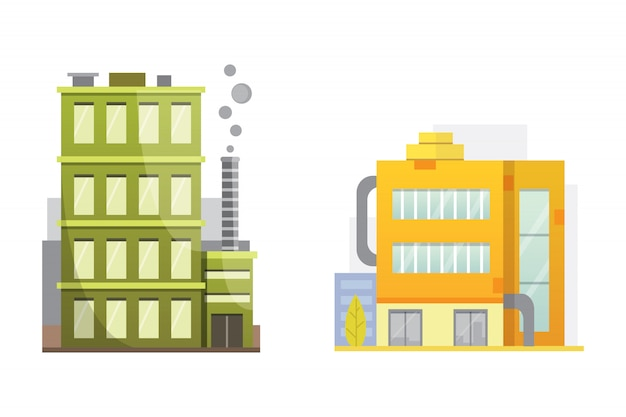Von retro und modernen stadthäusern. alte gebäude, wolkenkratzer. buntes häuschengebäude, caféhaus.