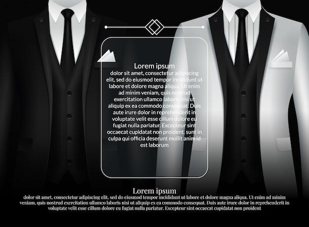 Von satz von visitenkartenvorlagen mit anzug und smoking