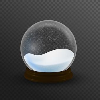 Von schneekugelball realistisches neujahrs-chrismas-objekt isoliert auf weiß mit schatten.