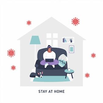 Von zu hause aus arbeiten - online-symbol für remote-arbeit, zeichen - coronavirus-quarantäne vorbeugende maßnahmen zur sozialen distanzierung - person, die zu hause am laptop arbeitet