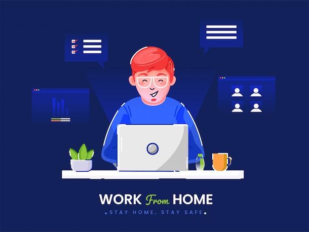 Von zu hause aus in quarantäne arbeiten. illustrationen der arbeit zu hause konzept. menschen zu hause.
