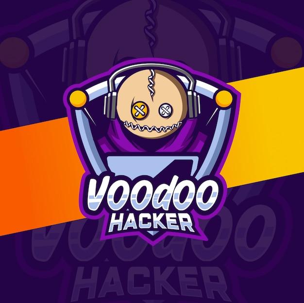 Voodoo hacker maskottchen esport logo design