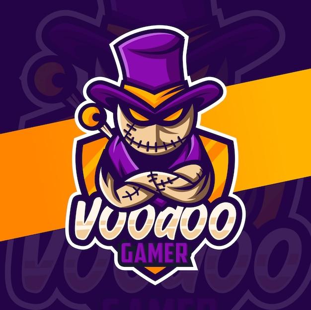 Voodoo puppe gamer maskottchen esport logo