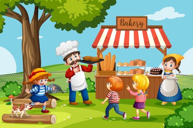 Vor bäckerei mit bäcker in der parkszene