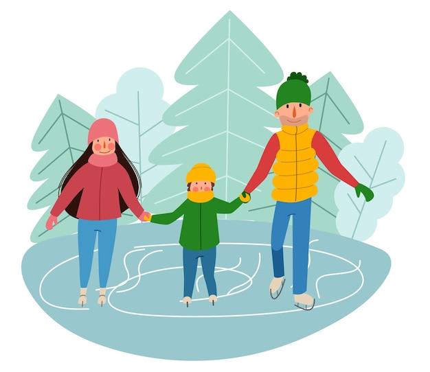 Vor dem hintergrund der stadt läuft eine familie auf dem eis schlittschuh. wintersport.