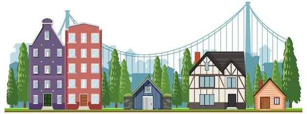 Vor den vorstadthäusern auf weiß Kostenlosen Vektoren